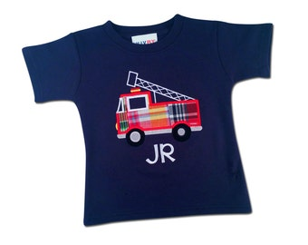Boy's Firetruck Shirt with Embroidered Name - M8