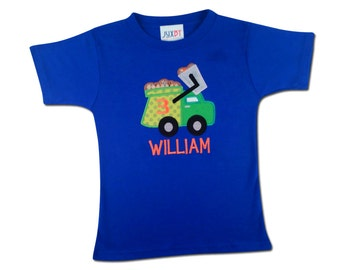 Boy's Garbage Truck Birthday Shirt with Number and Embroidered Name