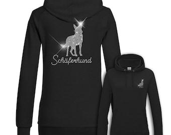 Ladies Hoodie Strass German Shepherd