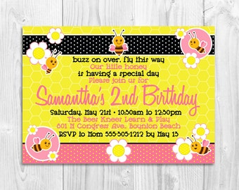 PRINTED Bee Birthday Invitation, bees