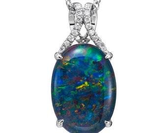 Natural Opal Pendant 18k White Gold & .05ct Genuine Diamonds and 18k White Gold Rare Coober Pedy Mine Opal Necklace Pristine Custom Rings