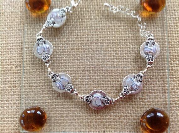 Handmade silver and Clay Skull Link Bracelet