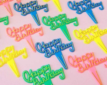 Happy Birthday Script Cupcake Toppers (12), Happy Birthday Cake Picks, Retro Birthday Message Cupcake Picks, Vintage Cake Decorations
