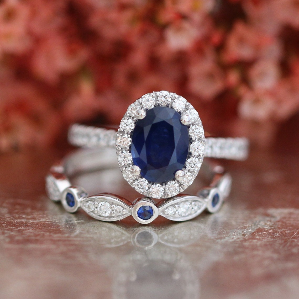 Blue Sapphire Engagement Ring And Bezel Scalloped By