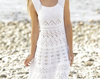 Knitted summer dress, hand made summer dress, cotton dress, all colors available.