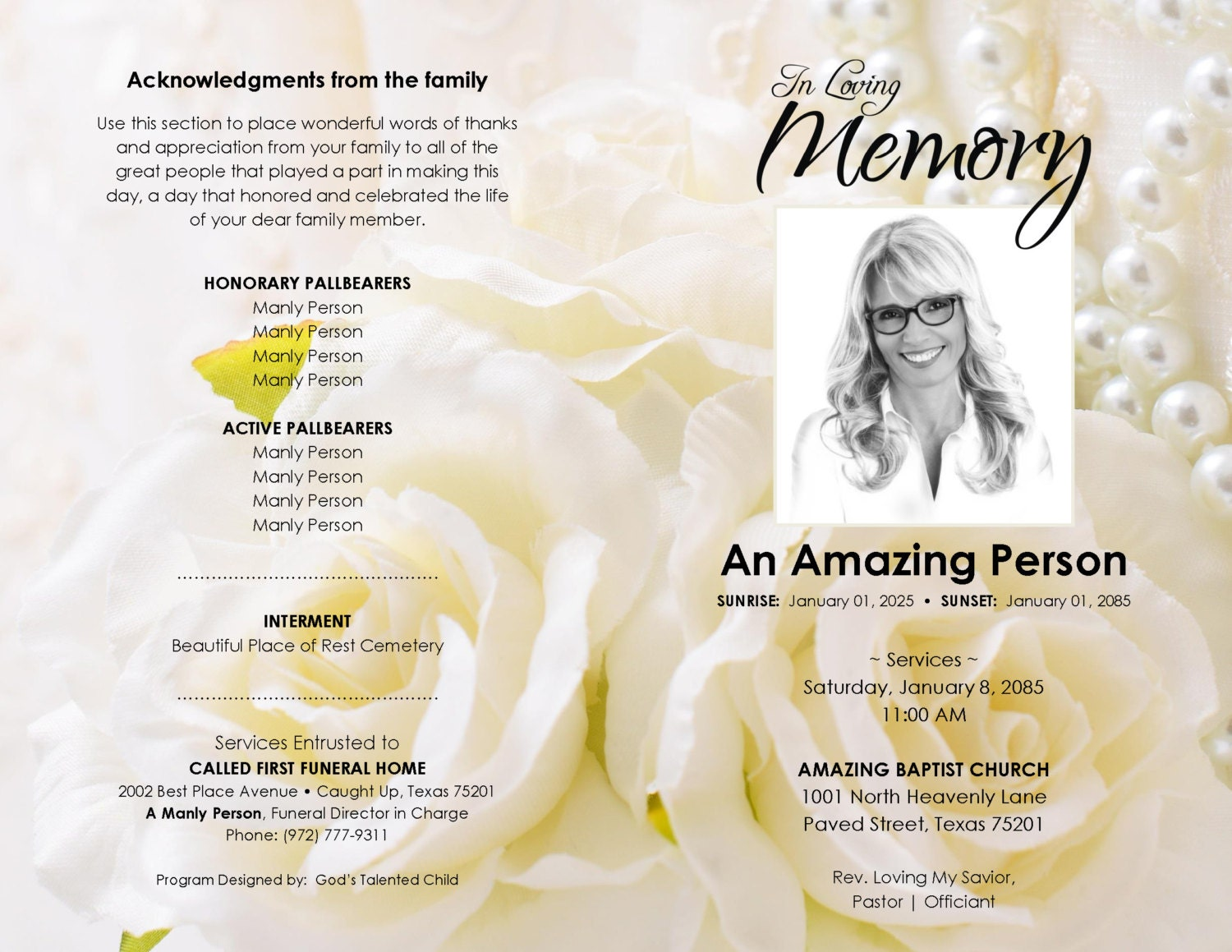 a touch of elegance printable funeral program template