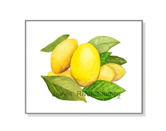 Lemon Art Lemon Painting Lemon Print. Lemon Watercolor Lemon Yellow Fruit Art Fruit Painting Kitchen Art Kitchen Painting Kitchen Wall Decor