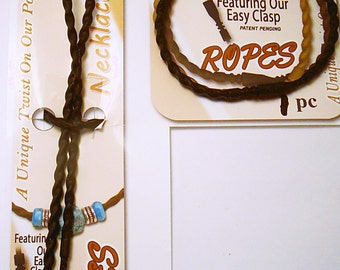 1 Bracelet & 1 Necklace - Twisted Silicone Rope with easy attached Clasp - BLACK