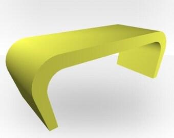 Lime Green Matt Coffee Table - Wedge