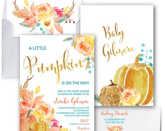 Pumpkin Baby Shower Invitation // A little pumpkin is on the way // Fall Baby Shower Invitation // Gold Foil // CAPE BRETON COLLECTION