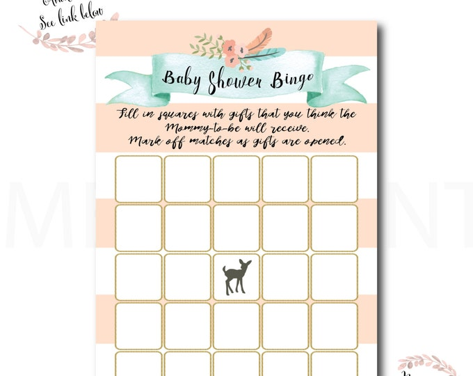 Baby Shower Bingo // Oh Deer // Fawn // Games // Game Cards // Peach // Mint // Gold Glitter // Printed // OXFORD COLLECTION