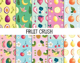 Fruit Scrapbook Paper, Digital Papers, Digital Scrapbook Paper, Fruit Crush