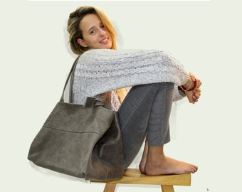 Sale!!! Distressed grey leather tote bag large leather bag leather handbag Handmade with LOVE!!!!