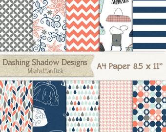 A4 Manhattan Dusk - Digital Printable Scrapbook and Craft Paper - PU/CU Commercial Use