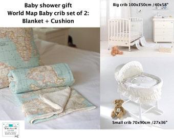 World Map Baby. Crib set of 2: Map Baby blanket, globe cushion. globe crib decor, map baby decor, Baby gift, baby shower, baby map decor.