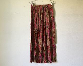 Vintage Skirt - Long Maxi Crinkled Cotton