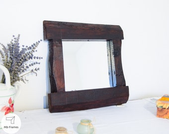 "Wall mirror- Reclaimed furniture- Rustic mirror- Mirror frame- Unique- Brown color- Wood mirrors- Italy- Barn wood- 13""x14"""