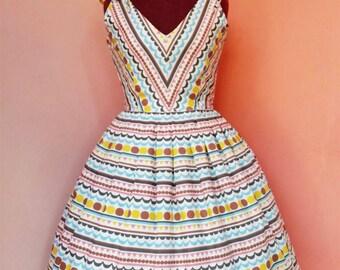 Mix Scallop and Dot Print Cotton Dress Inspired 1950's Dress / 50s Dress / Day Dress / Casual Dress / Summer Dress