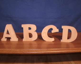 "unfinished free standing wooden letter 4"", 4"" Nursery letter, 4"" wooden letter 3/4"" thick,  wooden alphabet Style # 2"
