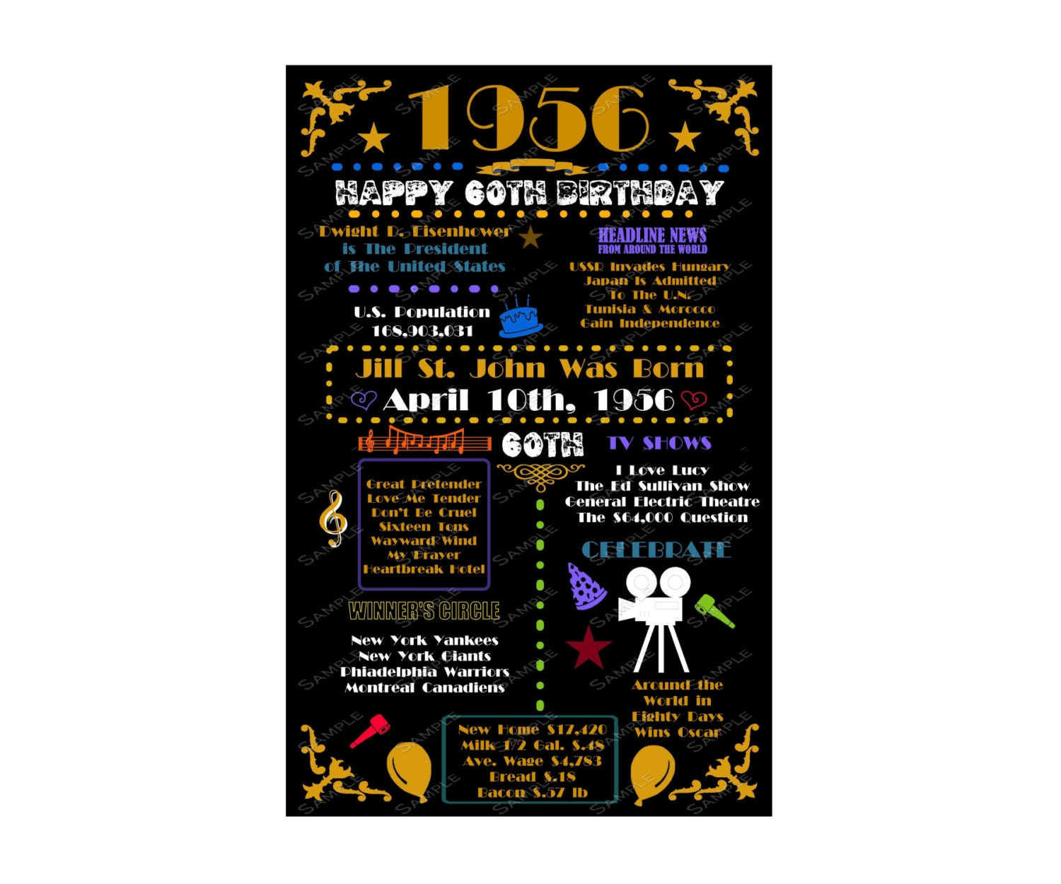 Gorgeous Personalized 60th Birthday Gifts For Her: Personalized 1956 60th Birthday Gift 60th By