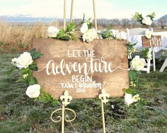 Let The Adventure Begin Wedding Sign // Hand Lettered Wood Wedding Decor // Rustic Wedding Sign