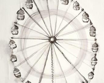Ferris Wheel, Original Watercolour print, wall print