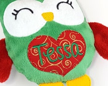 Baby's First Xmas, Christmas Gifts for Baby, Personalized Plushie, Owl Plush, Kawaii Stuffed Animal, Red and Green Plushie, Gift for Niece