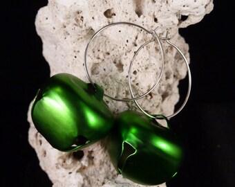 Green Jingle All The Way Hoop Earrngs