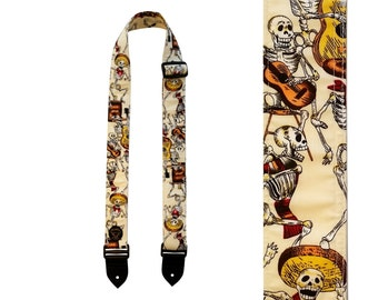Handcrafted Guitar Strap - Day Of The Dead Skeletons - Made in Scotland