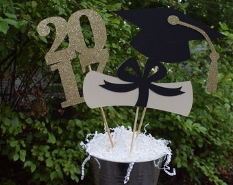 2017 Graduation Table Centerpiece, Graduation Party Decorations, Gold or Silver Graduation Party Centerpiece, Graduation Table Decorations