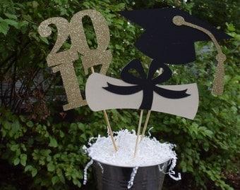 2018 Graduation Table Centerpiece, Graduation Party Decorations, Gold or Silver Graduation Party Centerpiece, Graduation Table Decorations