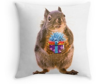 Squirrel Cushion, Squirrel Pillow, Funny Cushion, Funny Birthday Gift, Animal Cushion, Funny Animal Gift, Squirrel Decor, Birthday Present