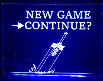 New game   continue final fantasy 7  light up  sign