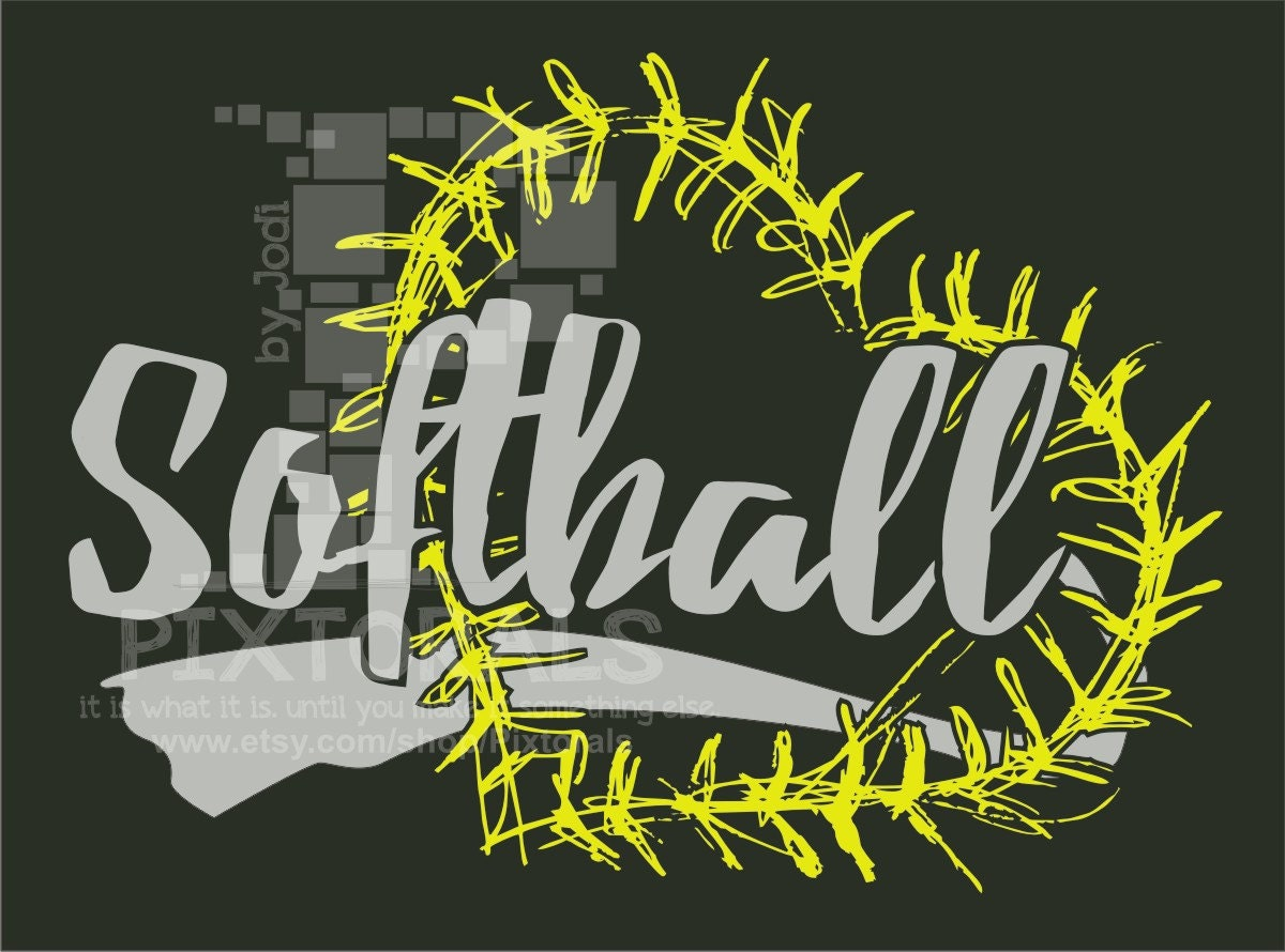 Softball Logo With Heart Laces Softball As Png Jpg High
