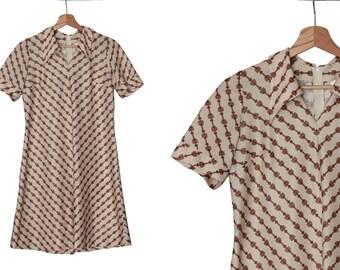 1970s vintage beige dress / chain links print