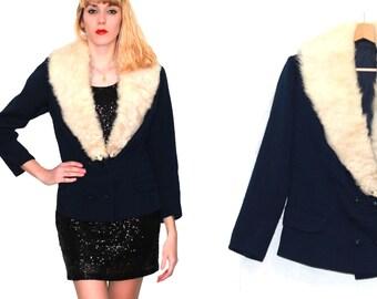 Vintage Blue textured jacket / faux fur collar Ermine