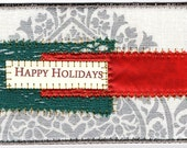 Fabric Art Christmas Postcard