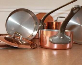 Exceptional, Copper Pots with Lids, Copper Cookware, Copper Saucepans, Copper Lids, Hammered Copper, Professional, Cast Iron Handles, 2mm