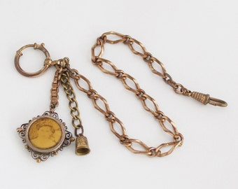 1910s French Pocket Watch Chain with Sweetheart's Fob & Miniature Thimble