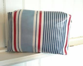 Nautical stripes, oilcloth washbag / large makeup bag. Toiletry bag.