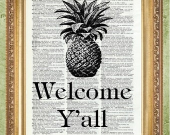 Pinapple Prints Typography Art Print Welcome Yall MHP Original Literary Print Gift for Book Lover Book Quote Print Dictionary Prints