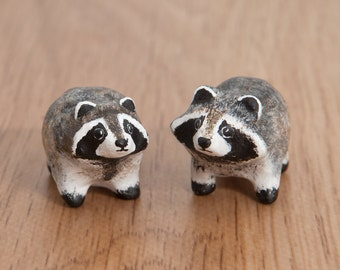 SALE!!! Sweet couple of raccoons. Animal totem - Polymer clay animal OOAK figurine, talisman, amulet