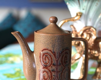 Vintage Retro Ceramic Made in Japan Coffee Pot  Brown Geometric Butterfly design