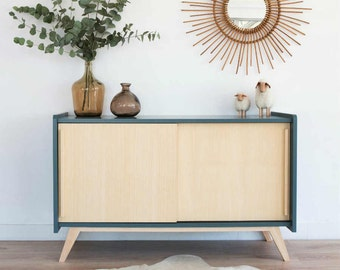 Mid century Sideboard, tv stand, Vintage & Scandinavian, dresser, wood, storn blue colors, model Pénélope