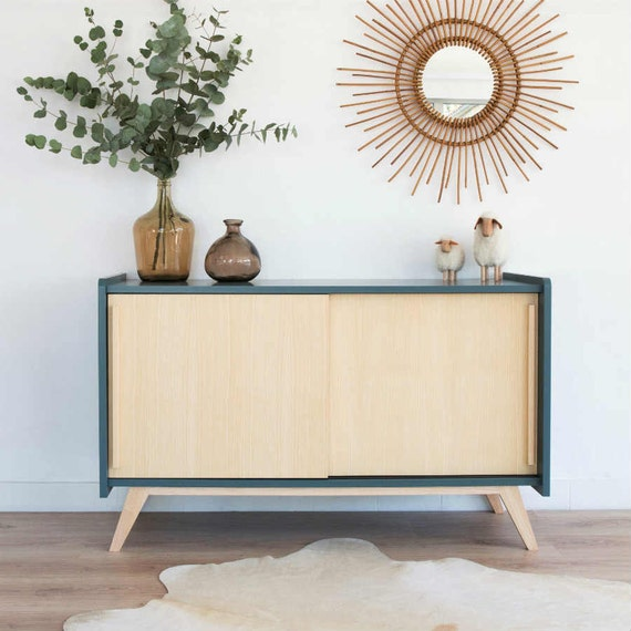 Enfilade meuble tv vintage scandinave buffet par for Meuble enfilade scandinave