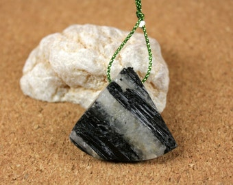 Black Tourmaline in Quartz Triangle Pendant - Rough Black and White Irregular Top Drilled Focal Bead