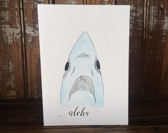 Watercolor Shark - Original Watercolor Greeting Card - Ink Art - Animal Art - Archival Quality Fine Art