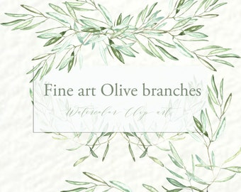 Olives branches watercolor clipart hand drawn. Romantic wedding, sage green, tender green branches, wedding invitation, arrangements.