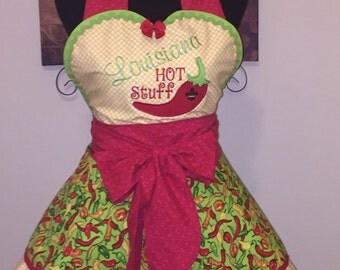 Louisiana HOT STUFF- Vintage apron