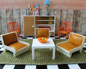 Vintage Retro Plastic DDR German Dollhouse Furniture Lounge Rocking Chair Wall Unit